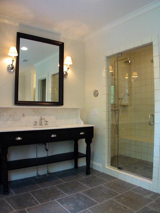 Good Fantastic Modern Bathroom Design With Slate Staggered Tile Floor, Ebony U0026  Marble Washstand, Black Beveled Mirror, Polished Nickel Sconces And Light  Blue ...