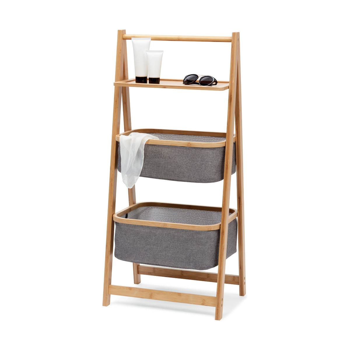 3 Tier Storage Caddy With Bamboo Frame Kmart Bamboo Frame