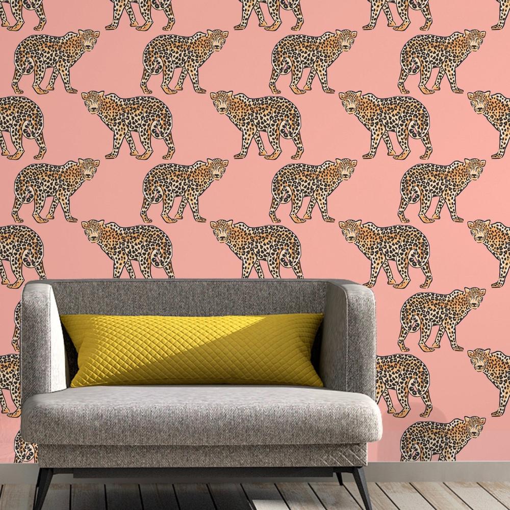 Jungle Leopard Removable Wallpaper Tropical Removable Wallpaper Peel And Stick Wallpaper Adhesive Wallpaper Free Shipping Peel And Stick Wallpaper Wallpaper Panels Removable Wallpaper