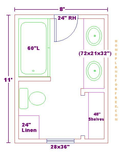 Modify this one 8x11 bathroom floor plan with double bowl for 6 x 14 bathroom layout