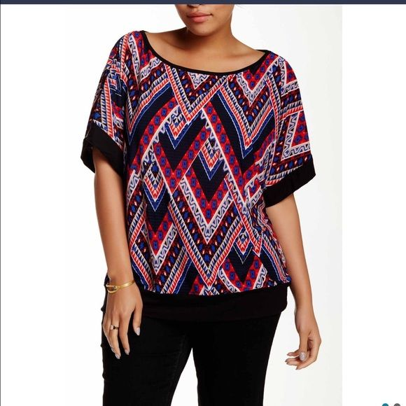 cb8268762b6372 Spotted while shopping on Poshmark: Plus size 3X Abstract Chevron top! # poshmark #fashion #shopping #style #24/7comfort #Tops