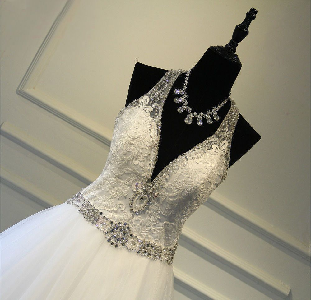New halter wedding dress ball gown beading sweepbrush white bridal