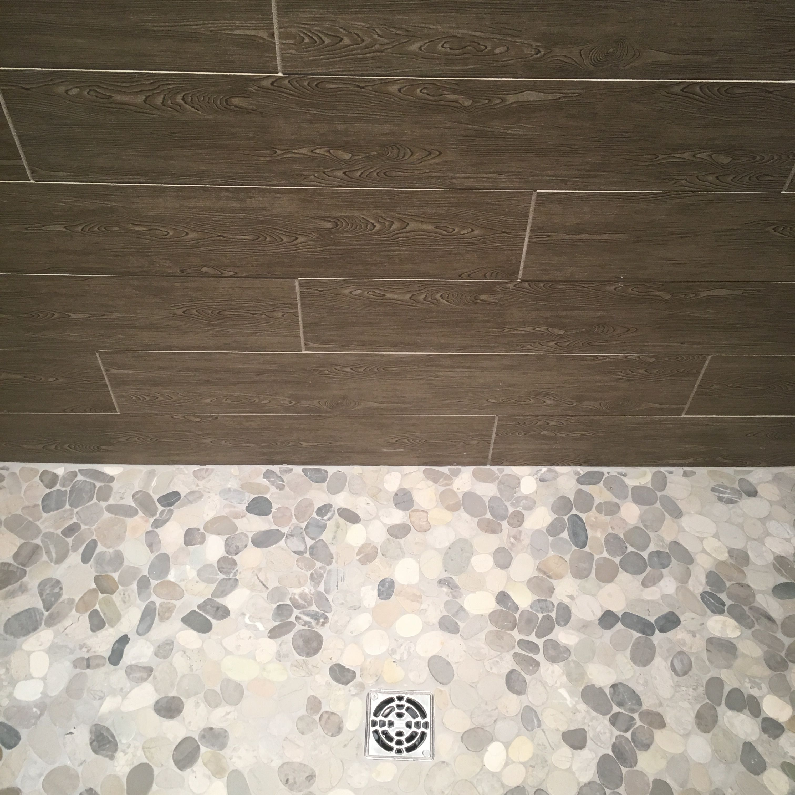 Wood Look Shower Wall Tile With Pebble Floor Superior Development Nashville Tn