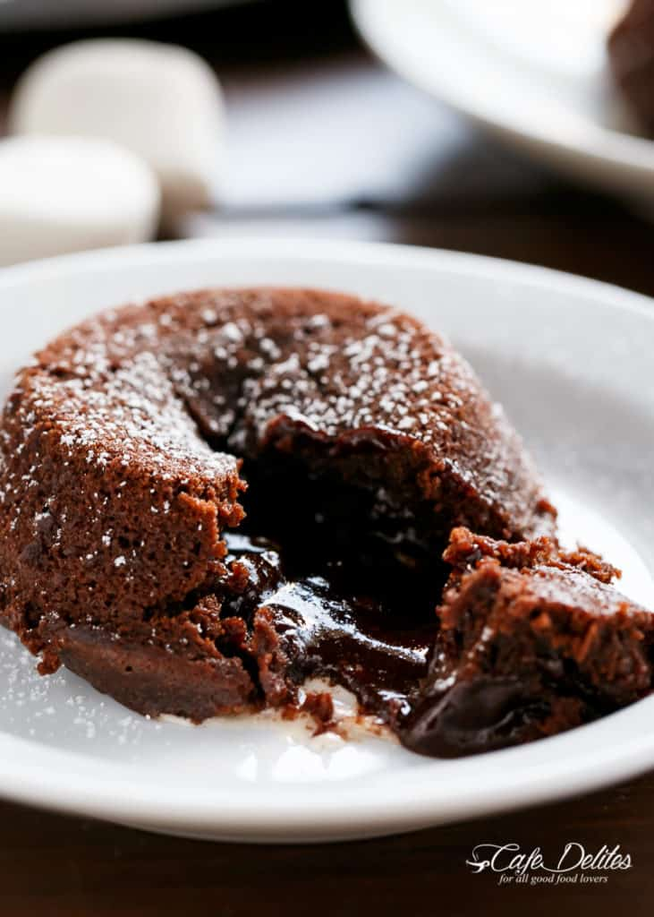 molten chocolate lava cakes with melted marshmallow in the centre all baked in a muffin tin lava cakes molten chocolate lava cake chocolate lava cake recipe pinterest