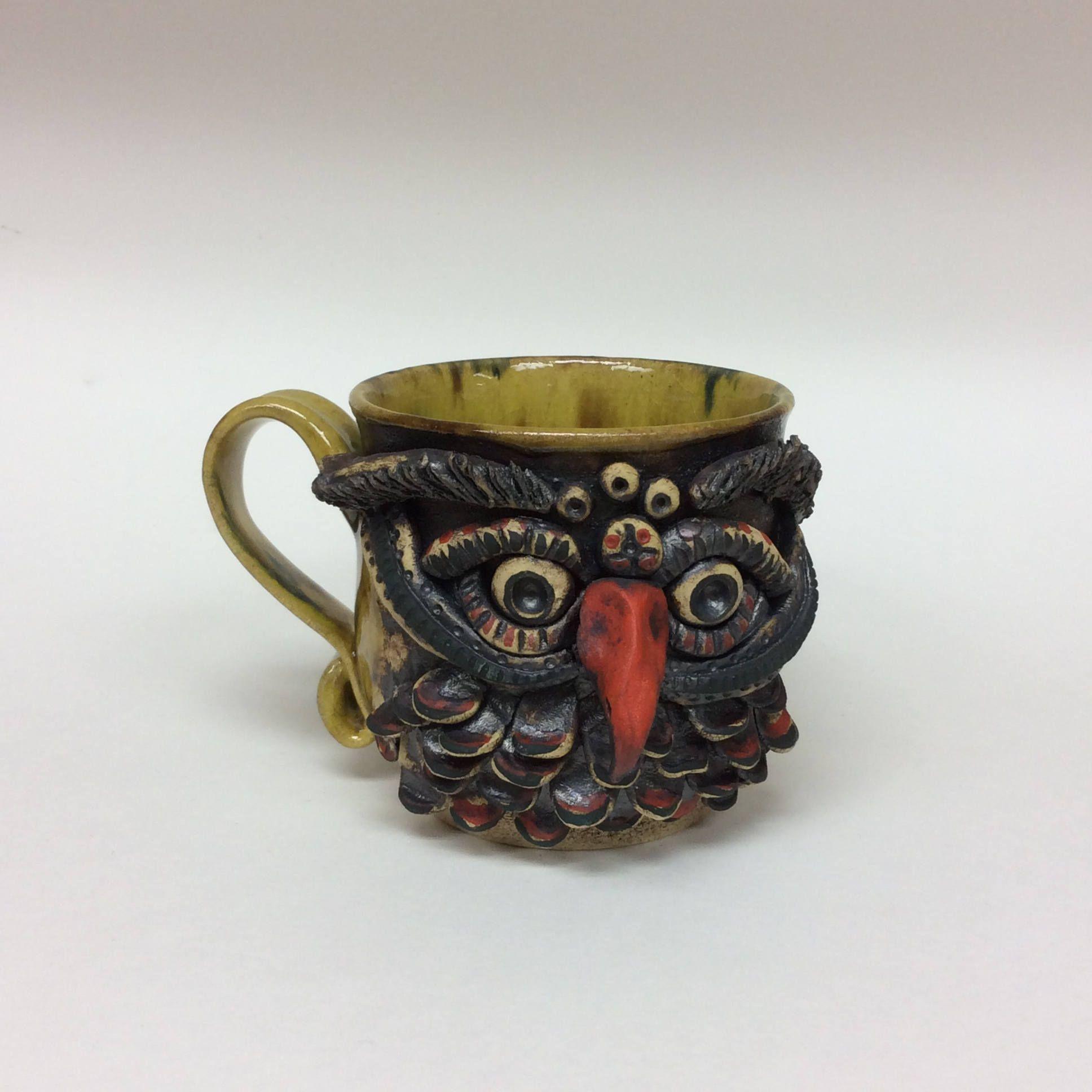 Owl Mug, Ceramic Owl Mug, Handmade Ceramic Owl Mug, Ceramic