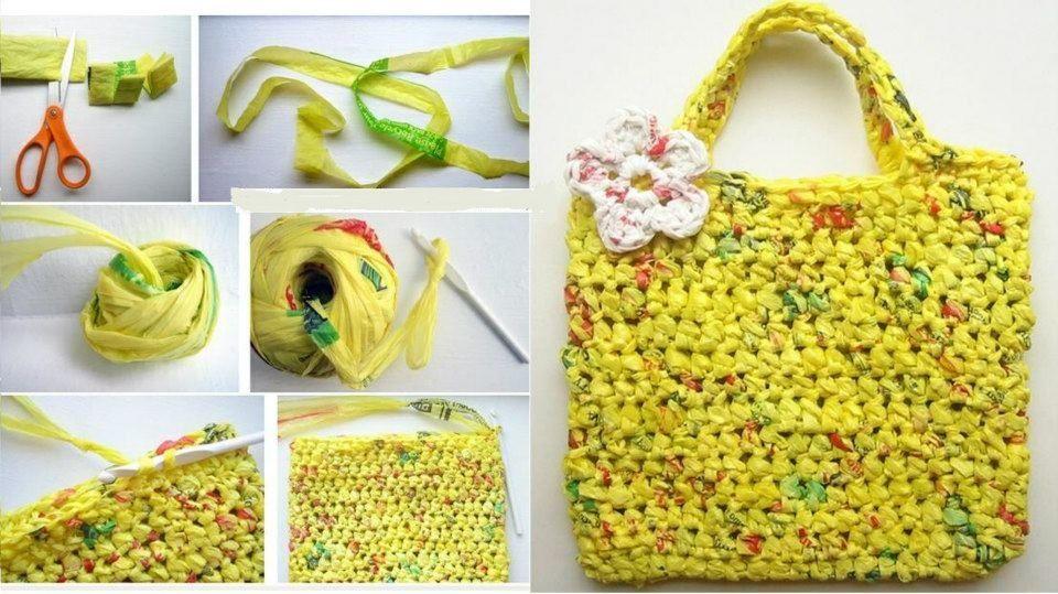 Tutorial de bolso tejido con gancho y bolsas de plástico recicladas.