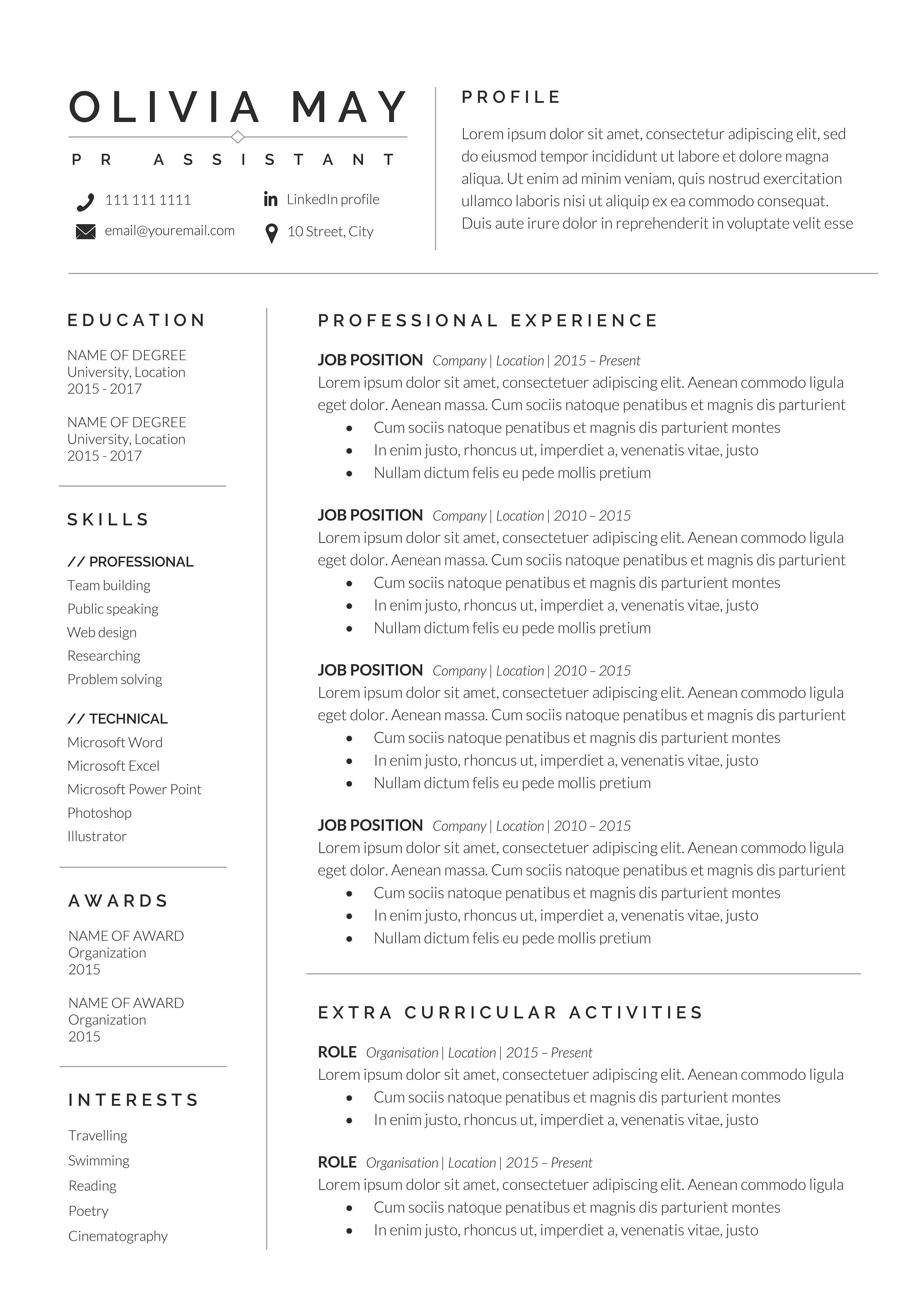 Resume Template Cv Professional Resume Examples Good Resume Examples Resume Examples