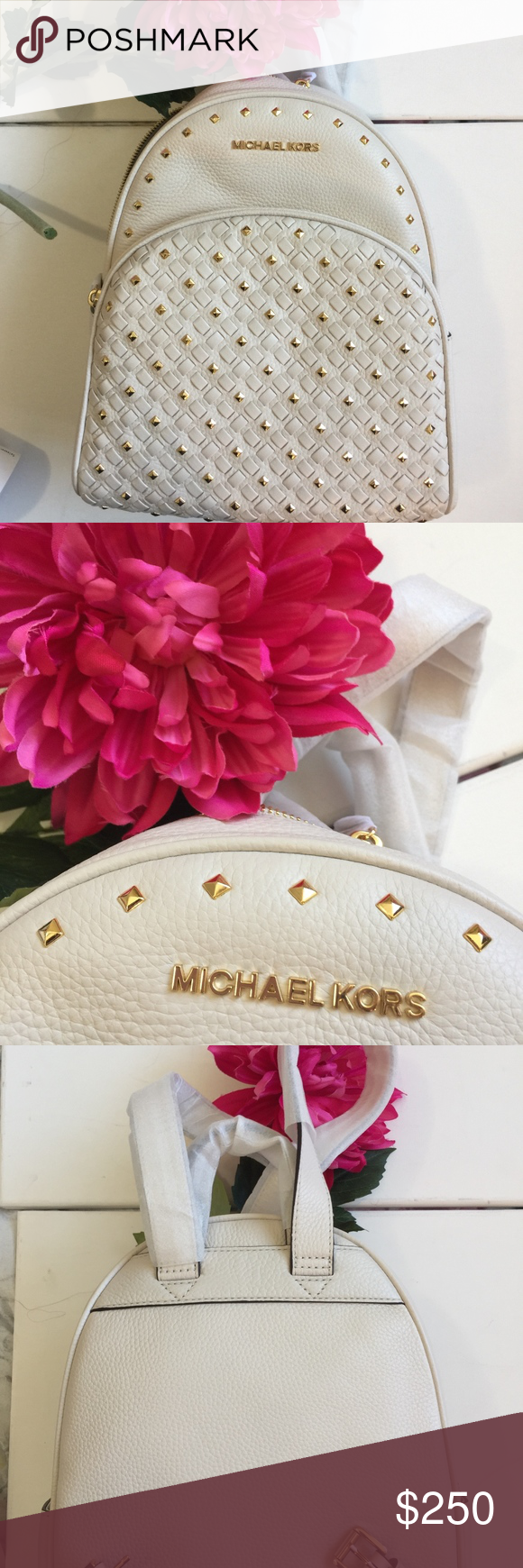 80d090bf47bc Michael Kors Vanilla Abbey MD Backpack Brand new, this is a stunning  studded backpack.
