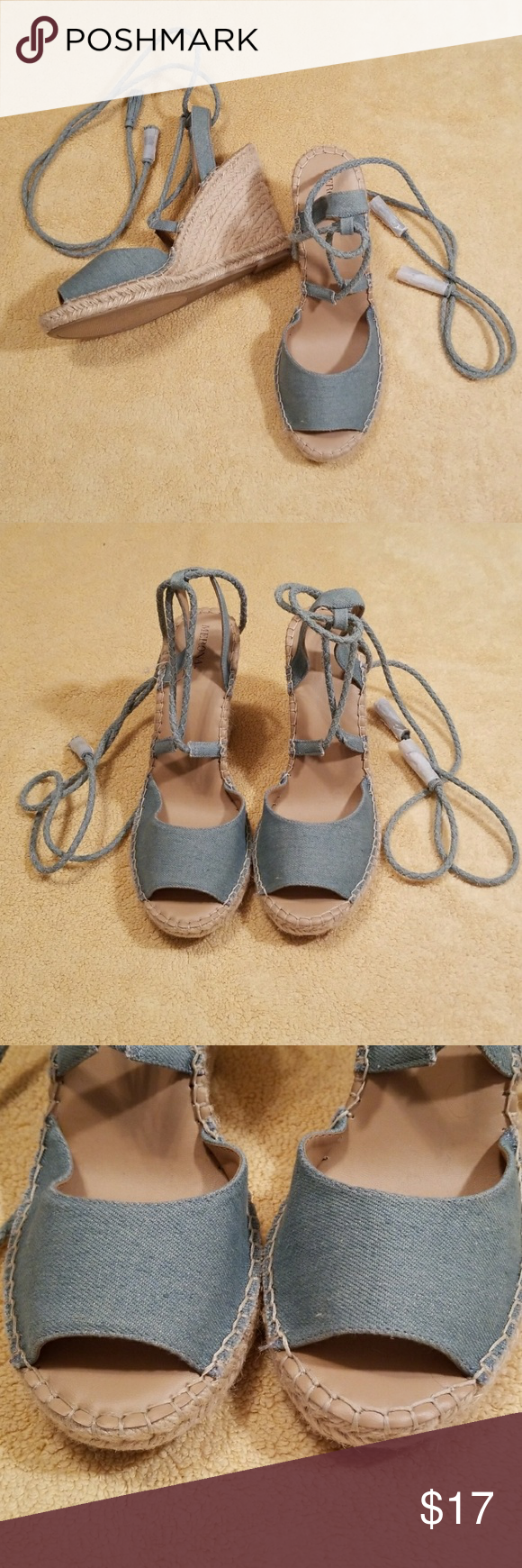3a514991ea26 Women s Merona Maren Lace Up Sandal in Size 11 Denim blue Maren lace up  wedge espadrille sandals from Merona in a size 11. Braided ankle straps  with tassel ...