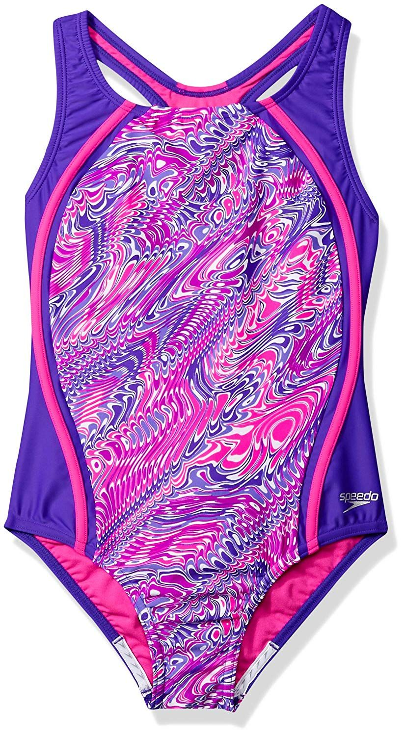 0054e40874a58 Speedo Girls Printed Sport Splice ** See the photo link even more details.  (This is an affiliate link). #Clothing