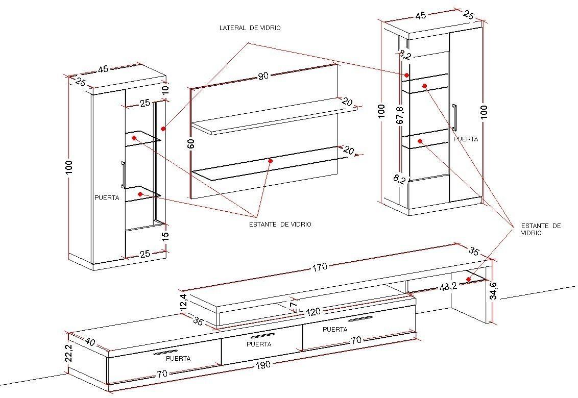 Medidas mueble de tv buscar con google muebles para for Muebles televisor moderno