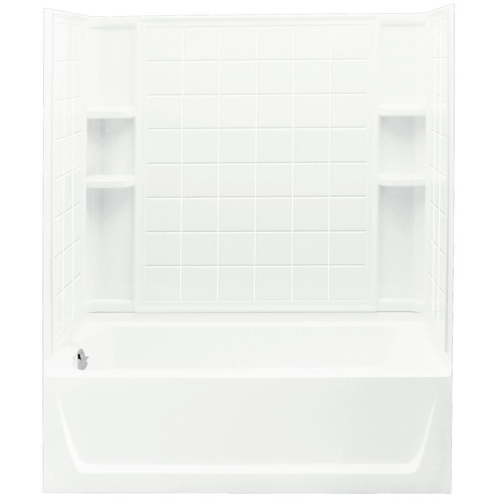 Trumbull Industries Ensemble 32 In X 60 In X 75 1 4 In Bath And Shower Kit Left Drain In White With Backer Boards Bathtub Shower Shower Wall Kits Shower Tub