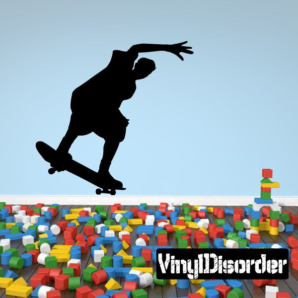 Tail Slide Boarder Skateboarding Wall Decal - Vinyl Decal - Car Decal - 004