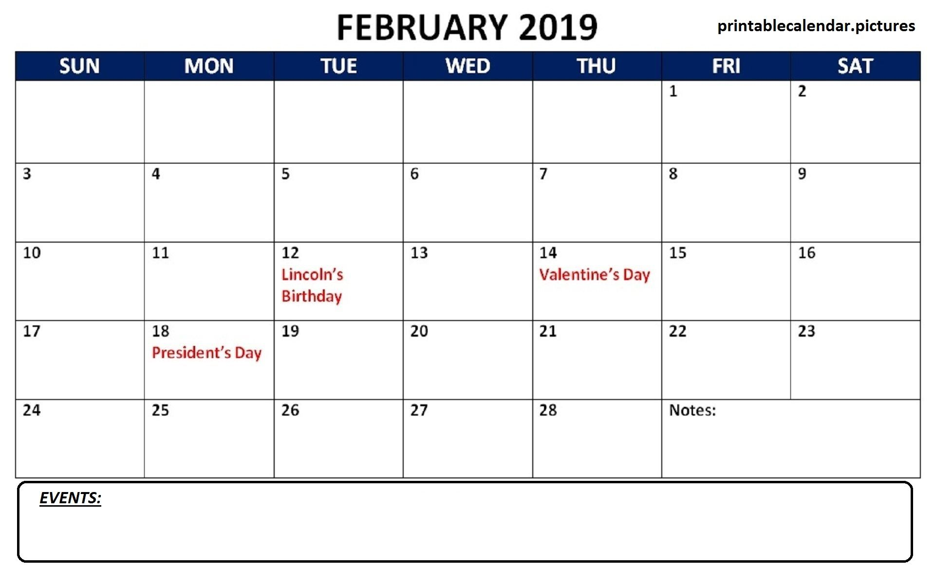 February 2019 Calendar Word Template To Print Calendar Of February