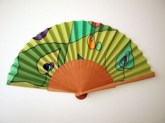 Handpainted Silk hand fan-Wedding hand fan Silk hand by gilbea
