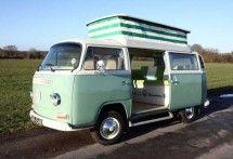 Turquoise pop up VW Camper Van