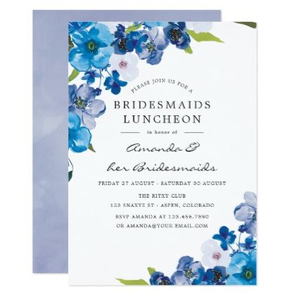 Hues of Blue Floral Bridesmaids Luncheon Invitation ...