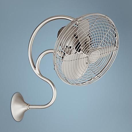 Finished In A Brushed Nickel This Versatile Wall Mount Fan Is Inspired By The Dynamic Look Of Industrial St Wall Mounted Fan Wall Mounted Fans Wall Mount Fans