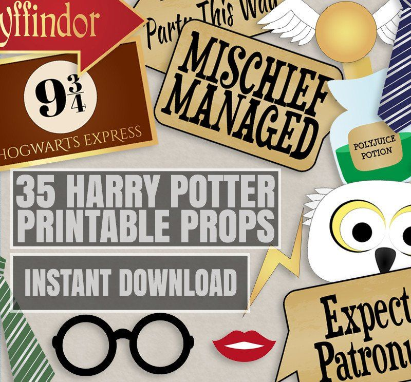 35 Pilot Party Props Airplane Party Diy Printable Photo Booth: 35 X Harry Potter Printable Party Props