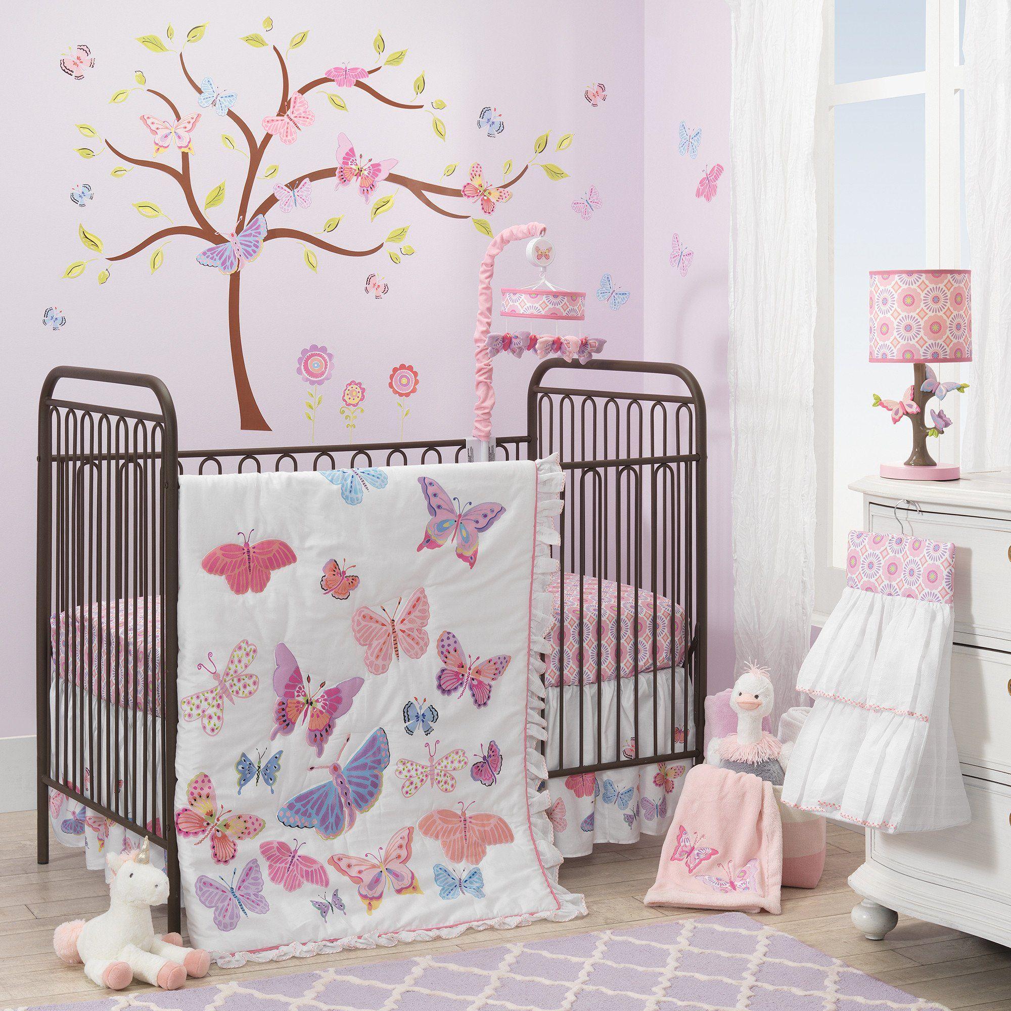 Butterfly Garden White/Pink/Purple Nursery 4-Piece Baby ...