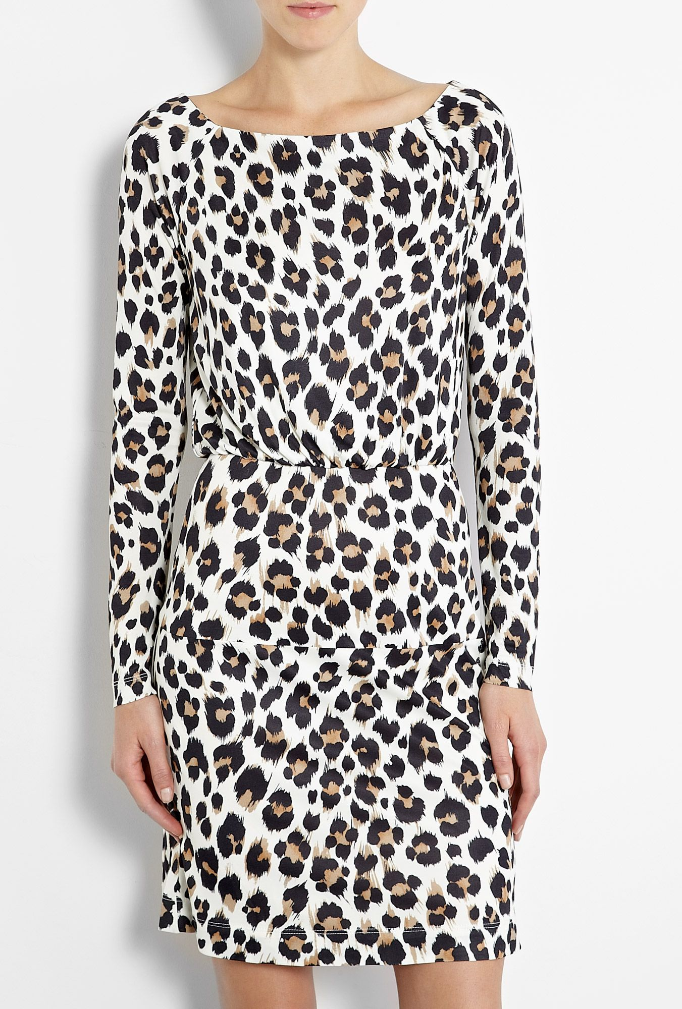 Love Moschino Leopard Print Jersey Long Sleeve Dress Long Sleeve Dress Leopard Print Dress Fashion [ 2000 x 1351 Pixel ]