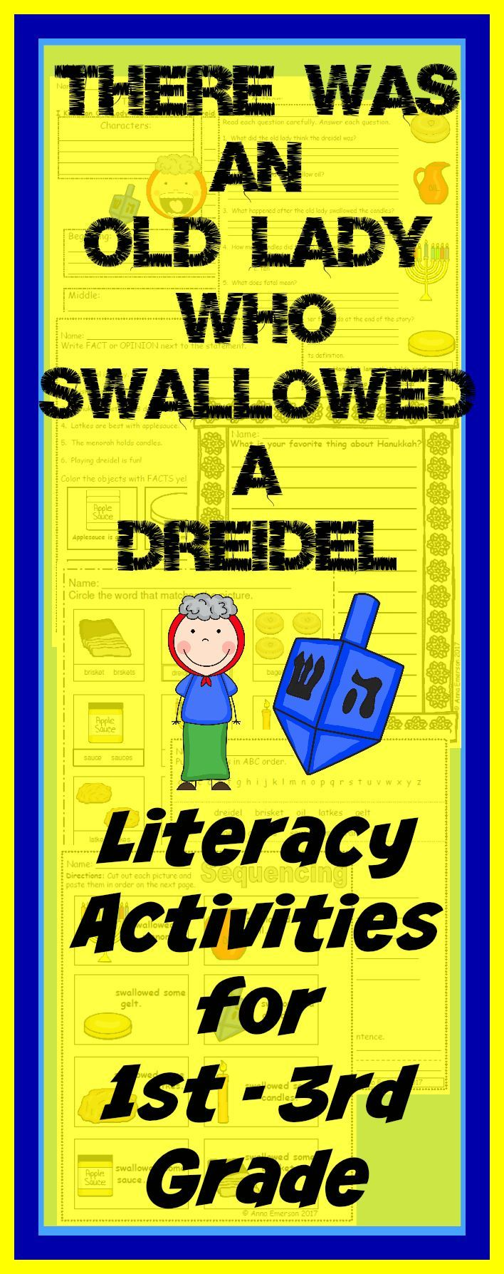 There was an Old Lady who Swallowed a Dreidel Literacy Activities ...
