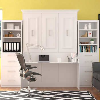 Bed Room Porter Queen Portrait Wall With Desk And Two Side Towers In White