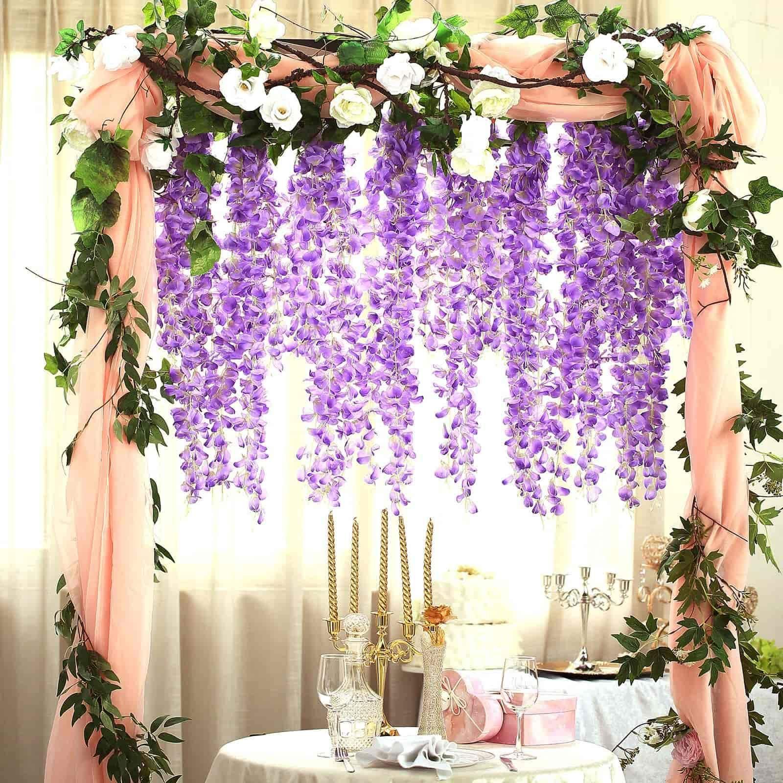 42 Lavender Artificial Wisteria Vine Silk Hanging Flower Garland In 2020 Flowering Vines Artificial Silk Flowers Flower Garlands
