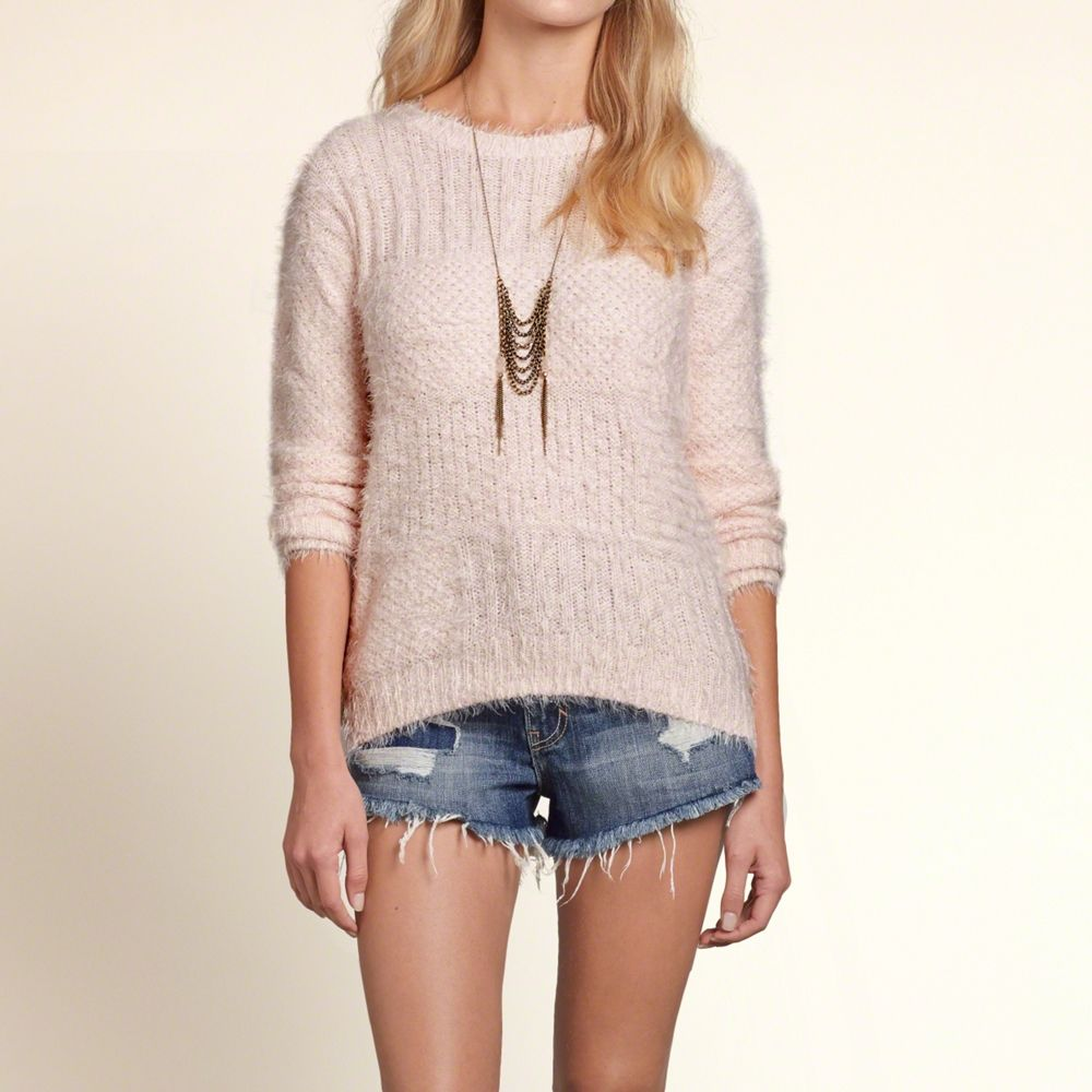 Girls Fuzzy Mixed Stitch Pullover | Girls New Arrivals | HollisterCo.com