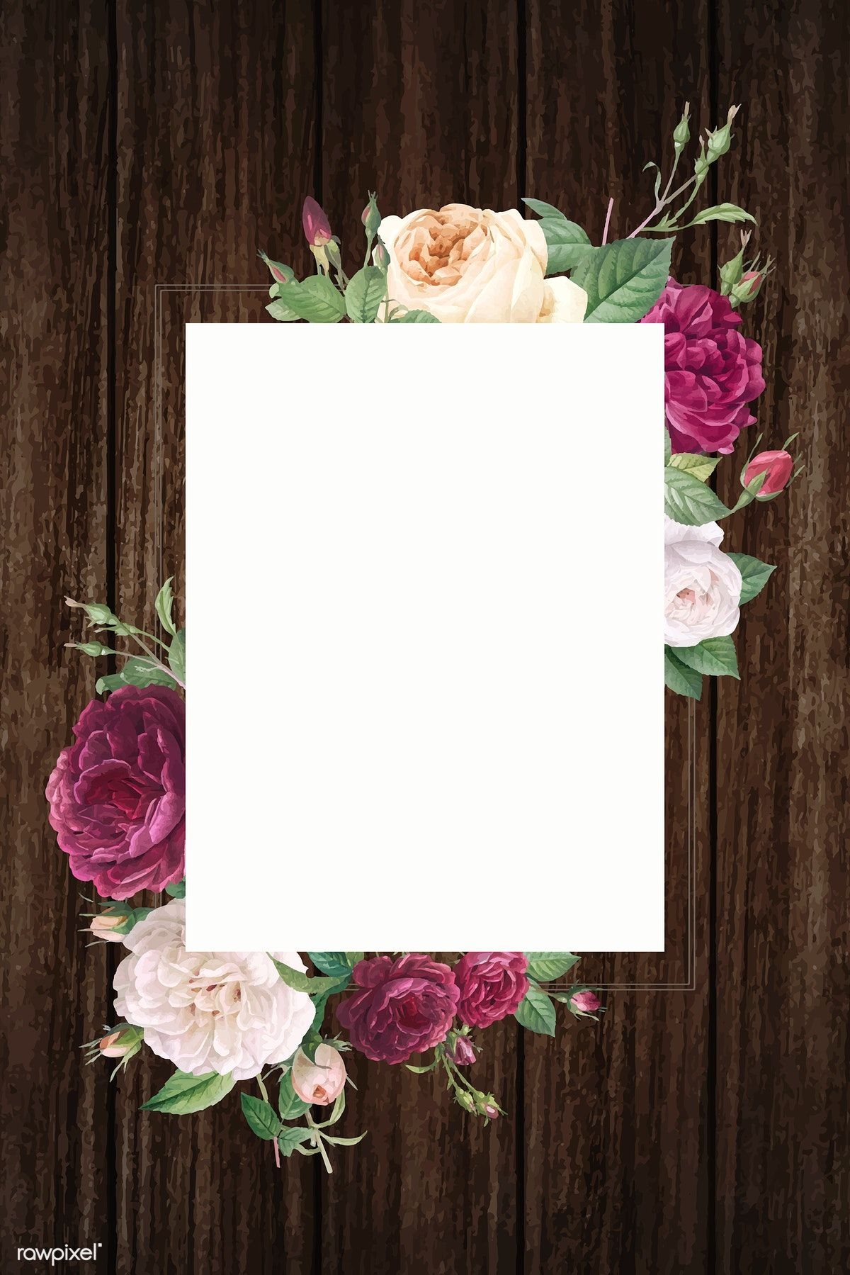 Rectangular frame decorated with roses vector, 4k iphone