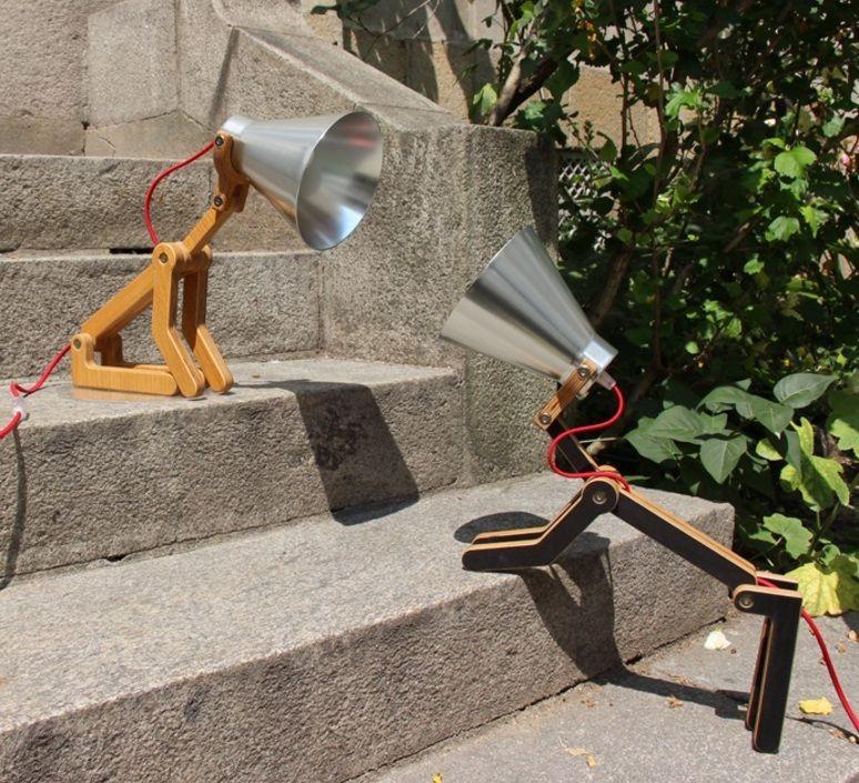 Lampe A Poser Chien Waaf Aluminium Chene H45cm Structures En 2020 Lampes De Table Luminaire Lampe A Poser