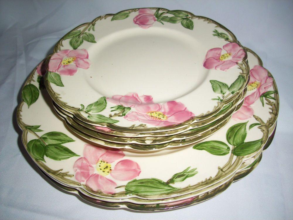 Franciscan Desert Rose Pink Flowers 3 dinner plates + 4 salad plates used # franciscan & Franciscan Desert Rose Pink Flowers 3 dinner plates + 4 salad plates ...