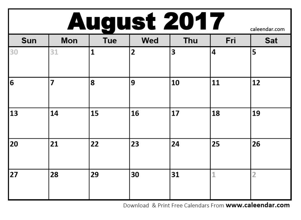 Blank August 2017 Calendar Image Pdf Word Calendar Printable