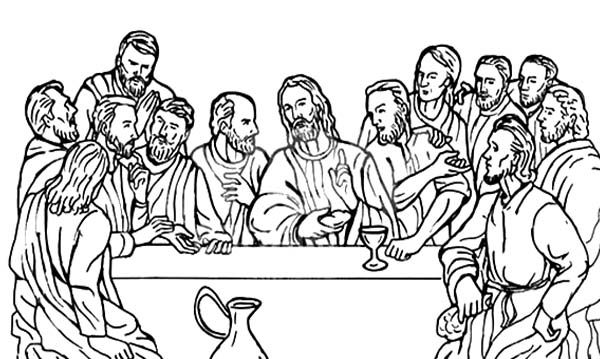 Disciples, Jesus Christ with 12 Disciples Last Supper Coloring Page ...