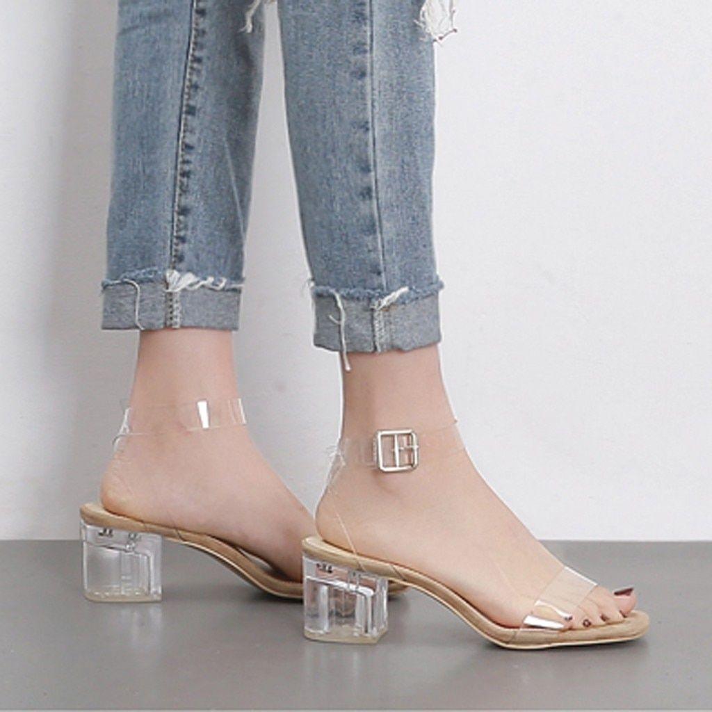 Transparent Sandals For Woman 2020 Summer Block Heels Shoes Female Luxury Clear Heels D Heels Women Shoes Block Heel Shoes [ 1024 x 1024 Pixel ]