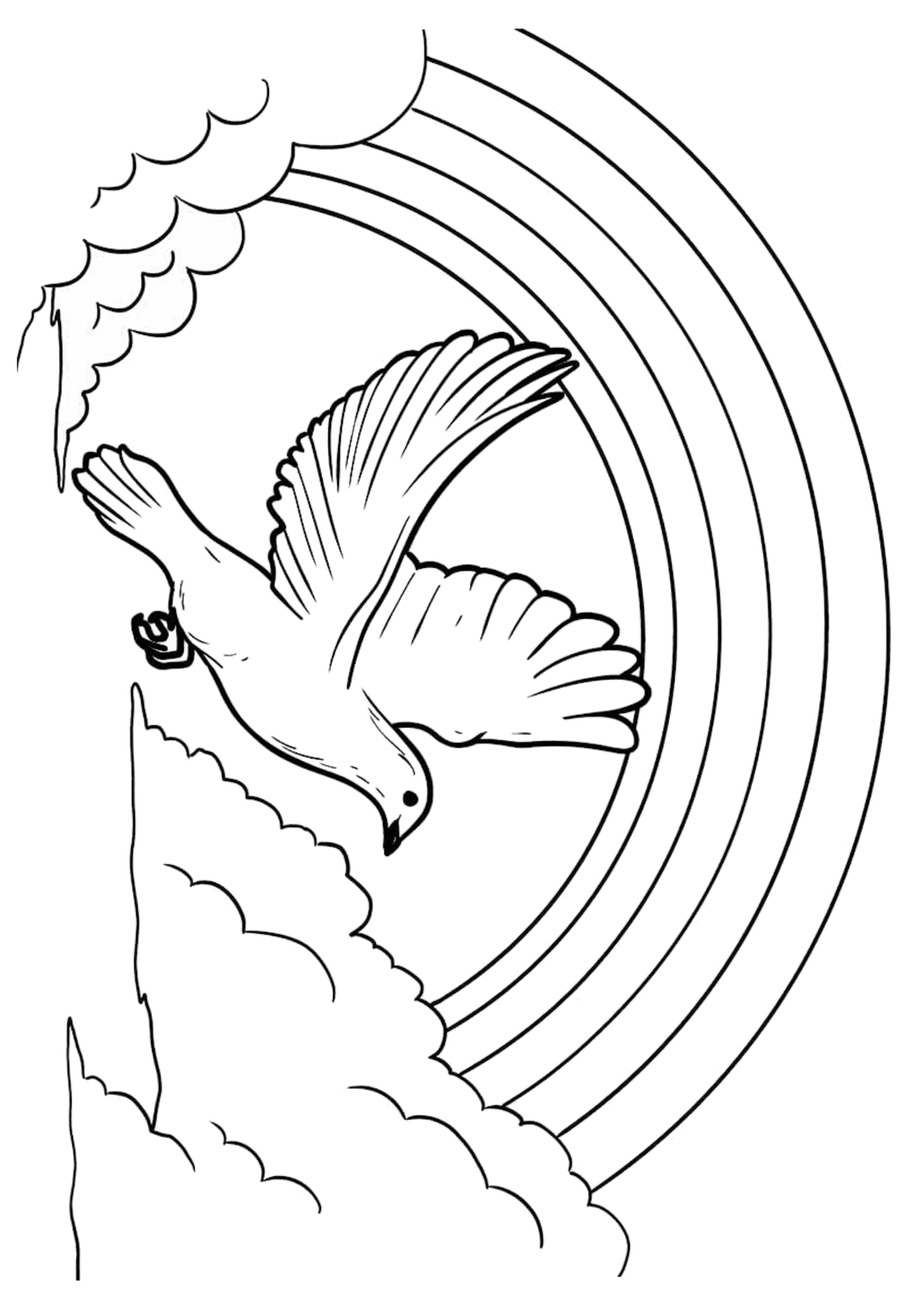 White Dove Flying And Rainbow Coloring Page Bubakids Com Dove Flying Coloring Pages White Doves [ 1754 x 1240 Pixel ]