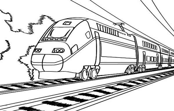 Electric Train On Railroad Coloring Page Color Luna In 2020 Train Coloring Pages Coloring Pages Printable Coloring Pages