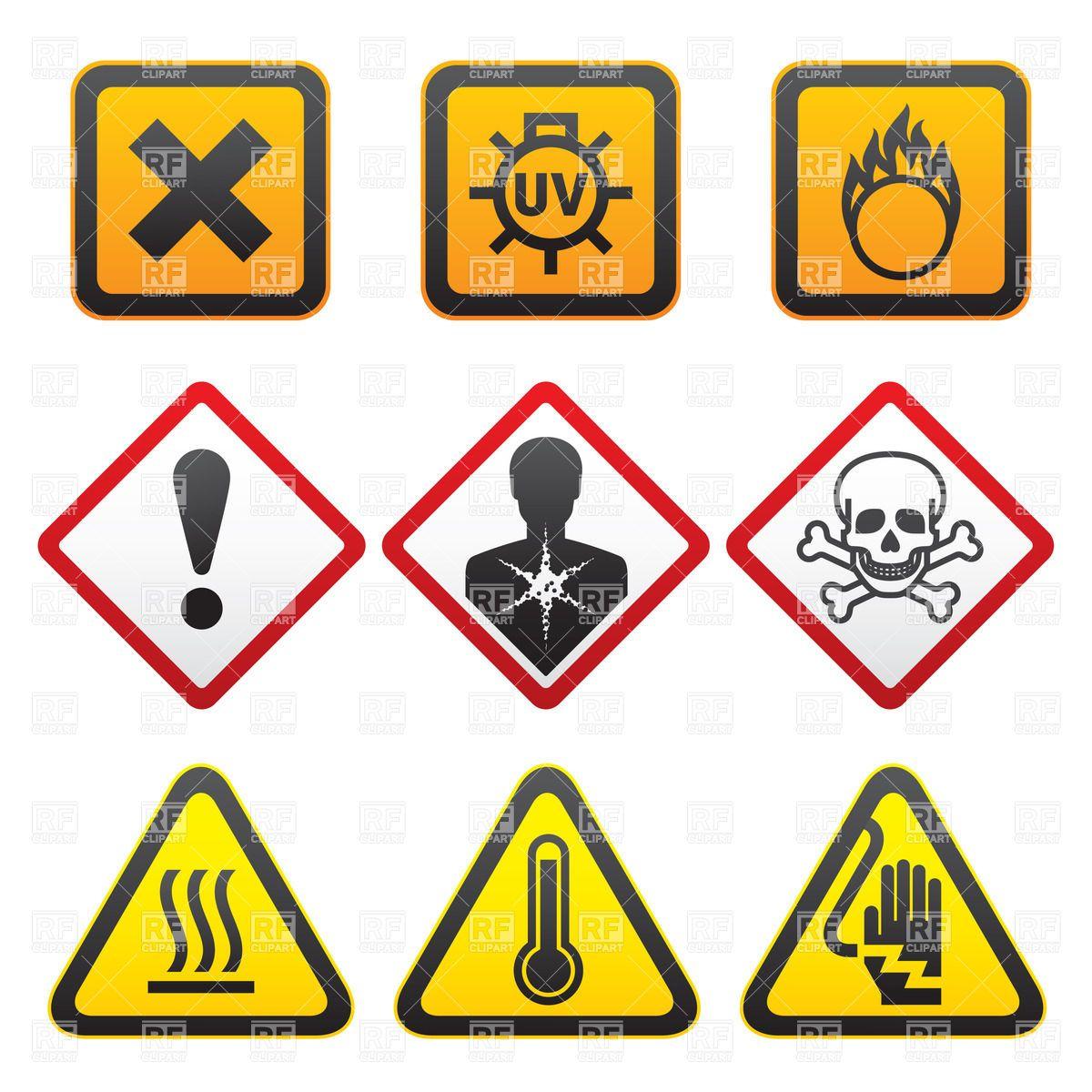 Warning symbols hazard warning symbols sample 3 warning warning symbols and hazard signs royalty free vector clip art image rfclipart biocorpaavc