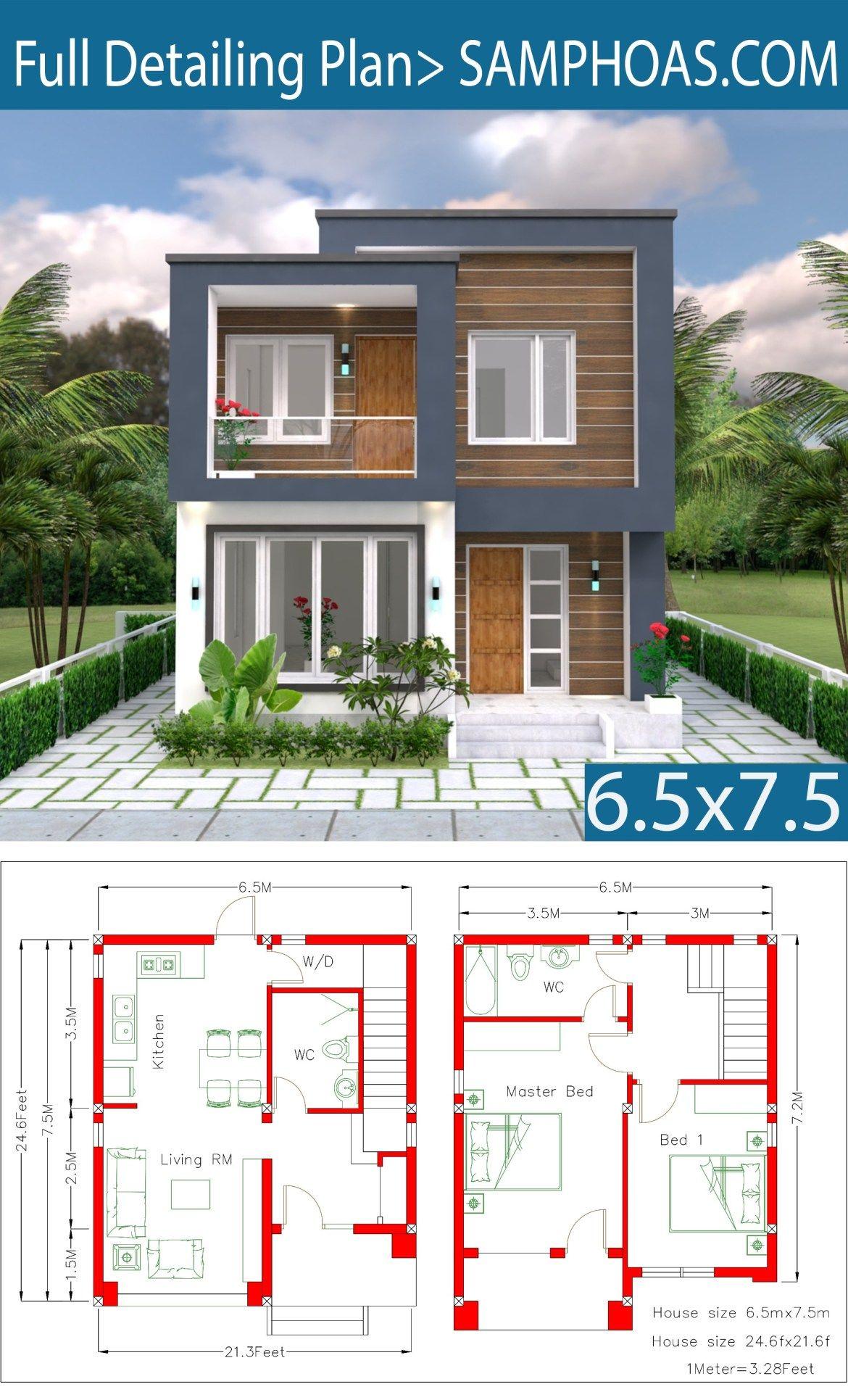 Home Design Plan 6 5x7 5m 2 Bedrooms Samphoas Plansearch Small House Design Plans Small House Design House Designs Exterior