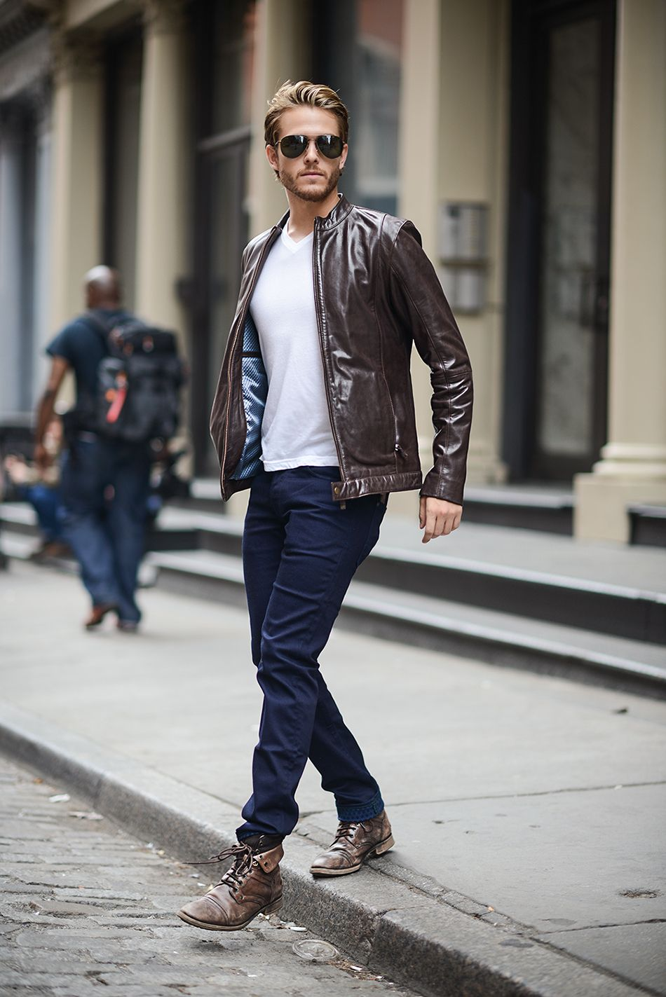c4d4b90494b99d Most Stylish Adam Gallagher Outfits (11) Mens Brown Leather Jacket