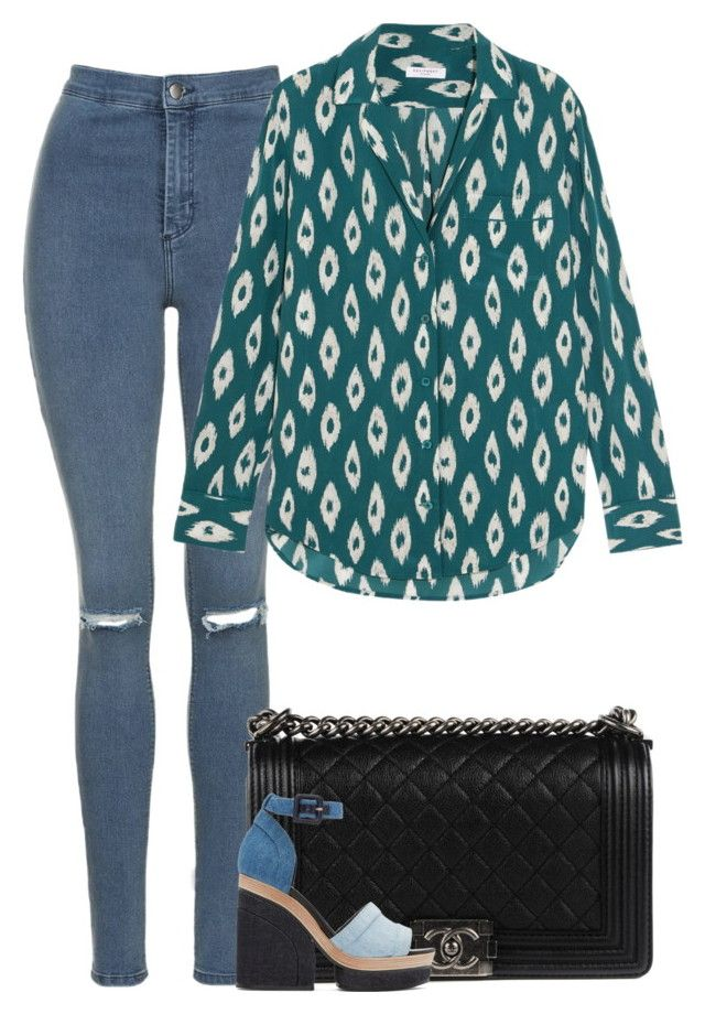 """""""Ally"""" by fanny483 ❤ liked on Polyvore featuring Topshop, Chanel, Equipment and Pierre Hardy"""