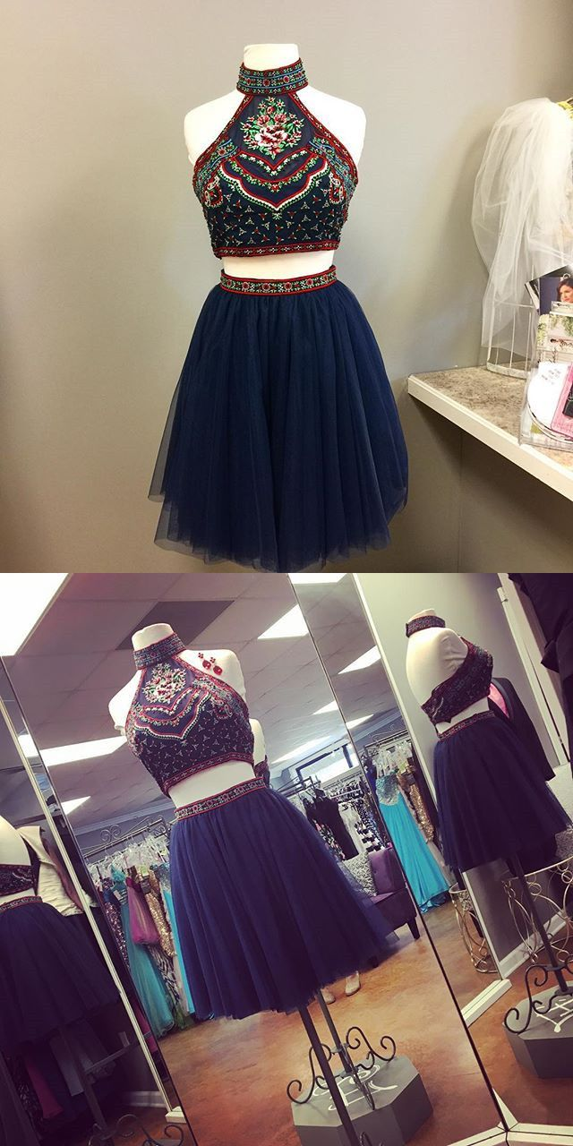 short prom dress homecoming dress two piece prom dress navy