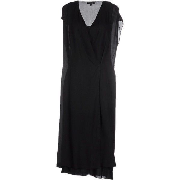 Narciso Rodriguez Knee-length Dress (7.760 NOK) ❤ liked on Polyvore featuring dresses, black, silk shirt dress, long shirt dress, narciso rodriguez dresses, black knee length dress and slip dress
