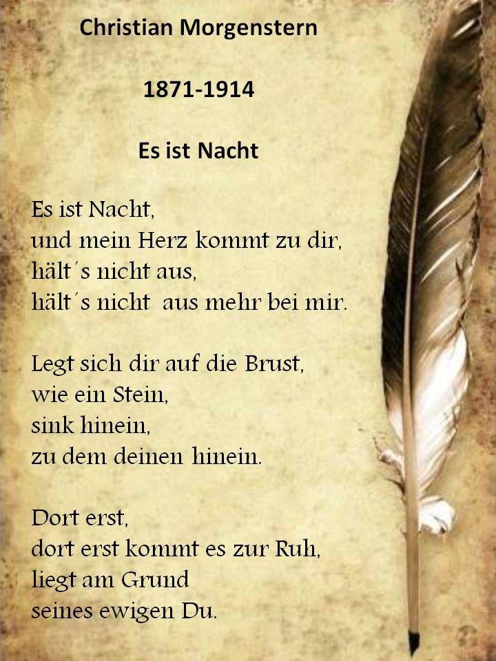 Spruch Gedicht Christian Morgenstern Es Ist Nacht