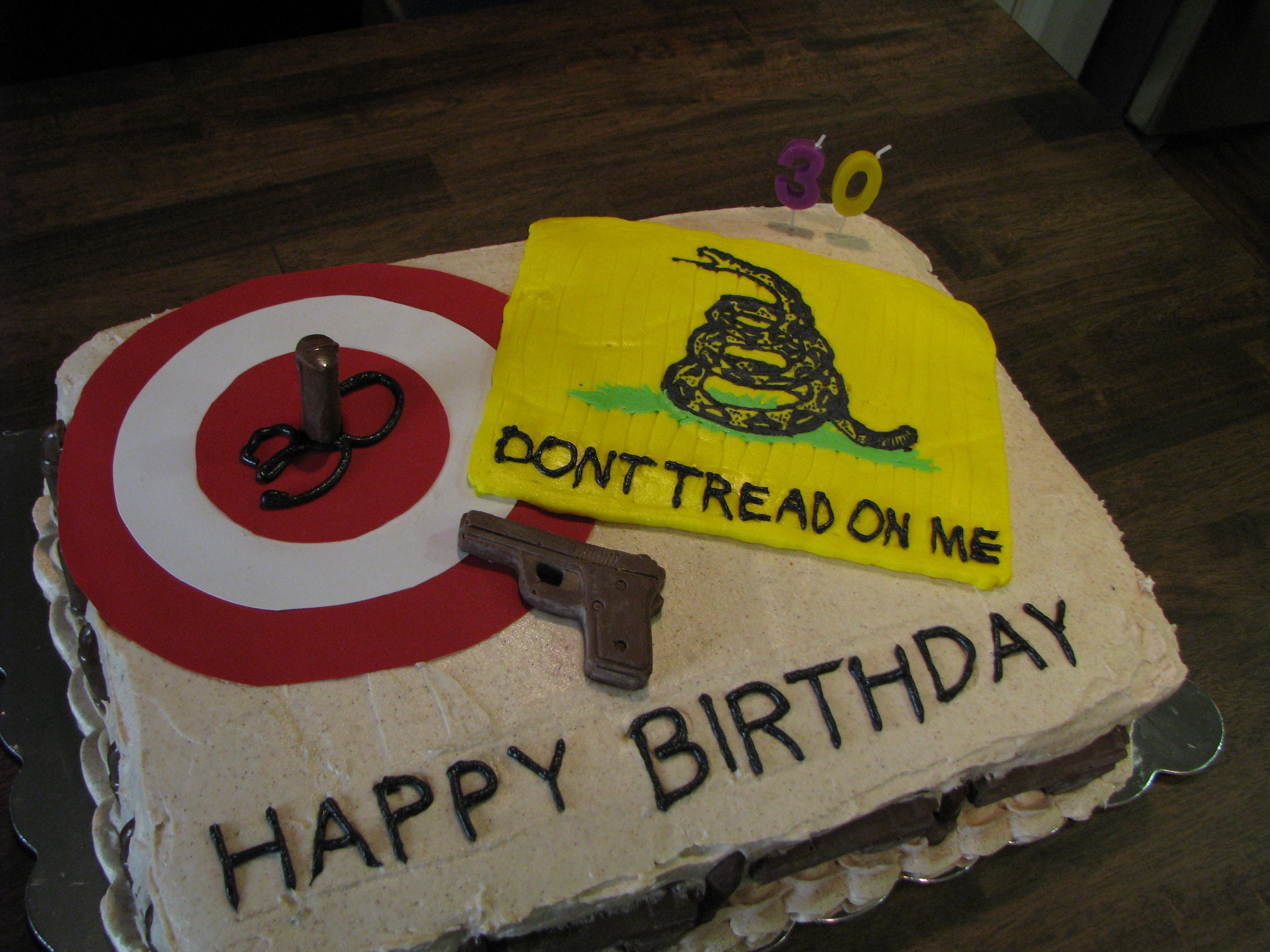 Dont tread on me cake i made for my sons 30th birthday