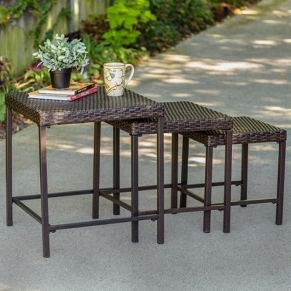 Small Coffee Table 3pc Patio Set Outdoor Tables Rattan Steel Frame Brown Pool Outdoor Side Table Outdoor Tables Outdoor End Tables