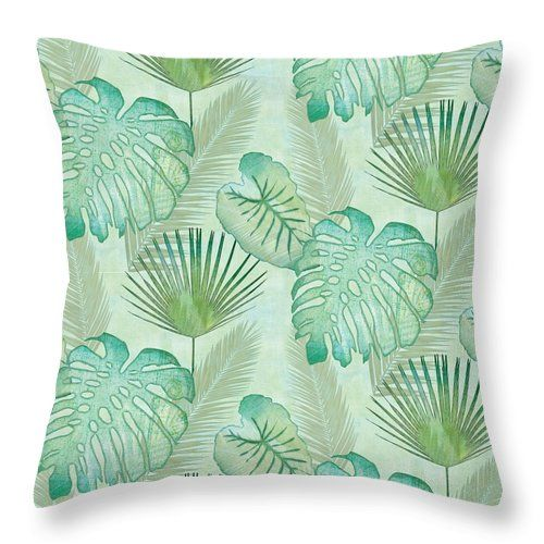 Rainforest Tropical Elephant Ear And Fan Palm Leaves Repeat Pattern CLH18100714P Handmade Pillowcase #elephantearsandtropicals