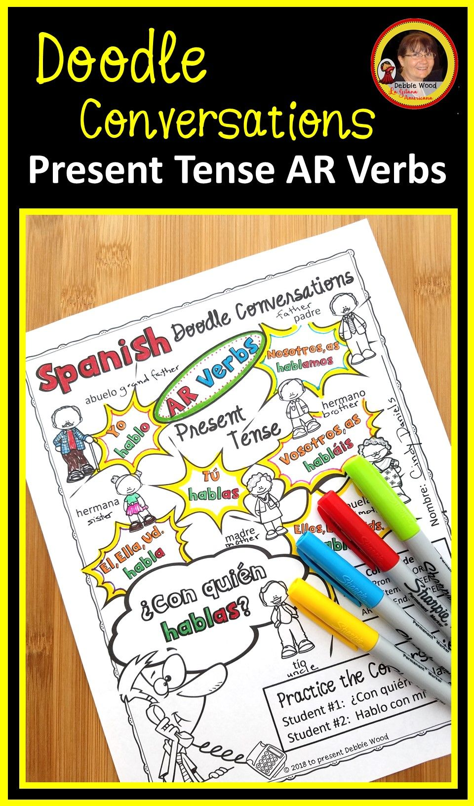 Teach Spanish Present Tense With These Fun And Engaging Doodle Conversation Worksheets And Cards Spanish Lessons For Kids Teaching Spanish Learning Spanish [ 1632 x 960 Pixel ]