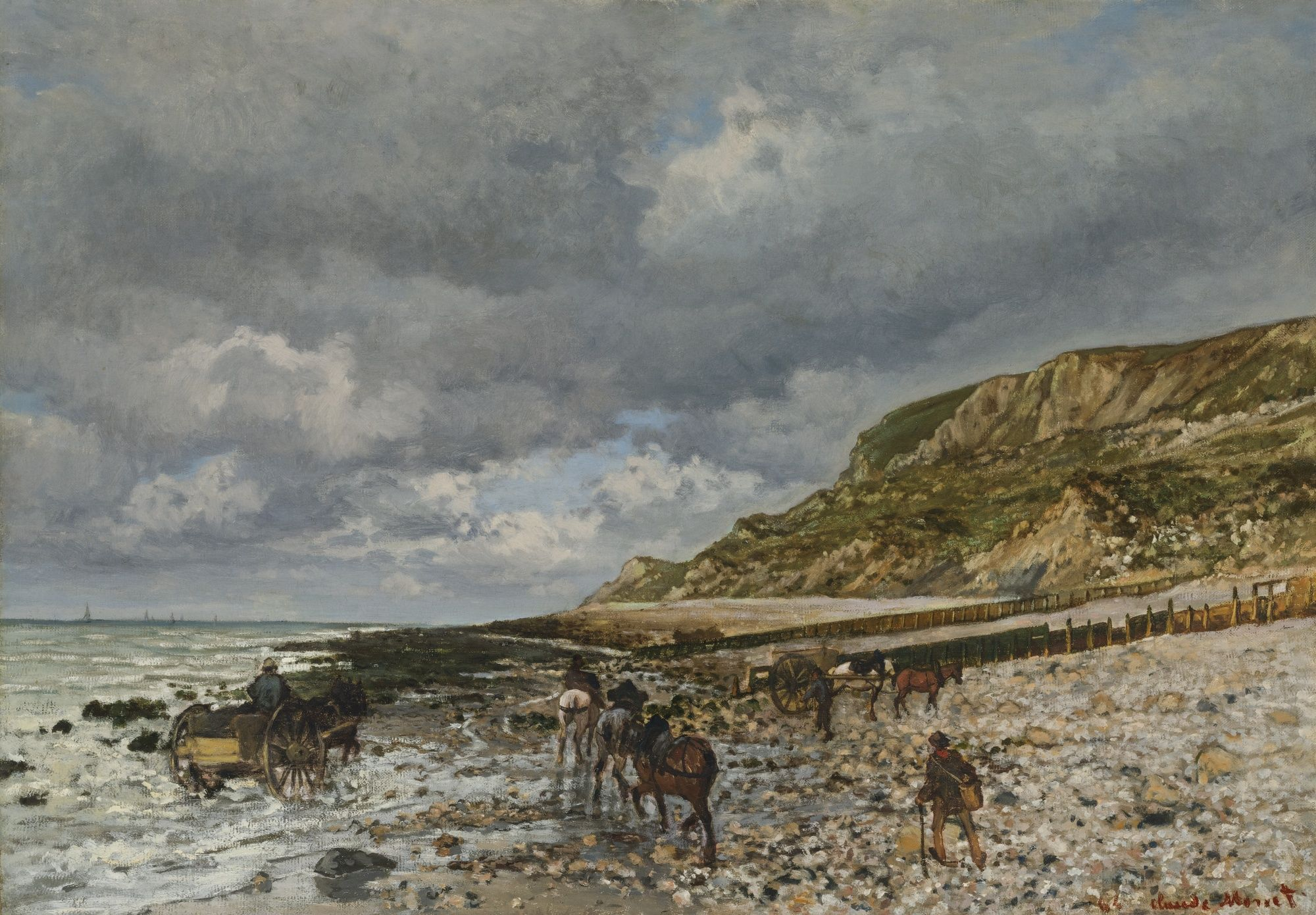 Claude Monet (1840 - 1926). Chevaux à la Pointe de la Hève. 21 1/4 by 29  in. Painted in 1864. | Claude monet, Monet, Monet paintings