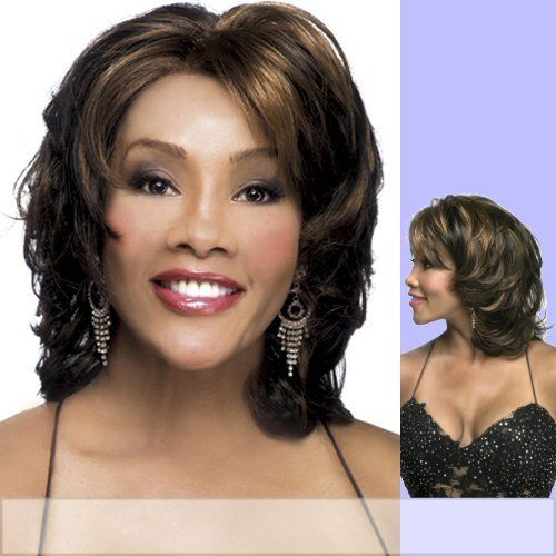 """LORETTA-V (Vivica A. Fox) - Synthetic Lace Front Wig in JET BLACK by Vivica A. Fox. $44.99. Color 1 is JET BLACK. Color shown is P1B/30. The color you receive may vary from the swatch shown due to your monitor and the distribution of the color fibers dictated by the style.. Lace Front Synthetic Wig. Medium length. Wavy style. One size fits most (S-XL) cap size. Styling required to achieve the exact look shown. Color 1 is JET BLACK (Color shown is P1B/30) - 13"""" LAYER..."""